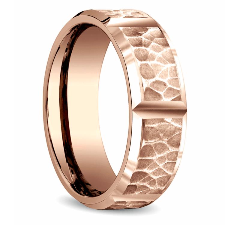 Hammered Carved Men's Wedding Ring in Rose Gold | 02