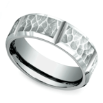 Hammered Carved Men's Wedding Ring in White Gold | Thumbnail 01