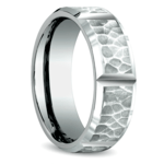 Hammered Carved Men's Wedding Ring in White Gold | Thumbnail 02