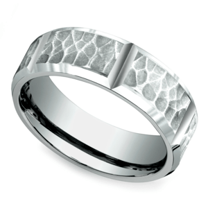 Hammered Carved Men's Wedding Ring in White Gold