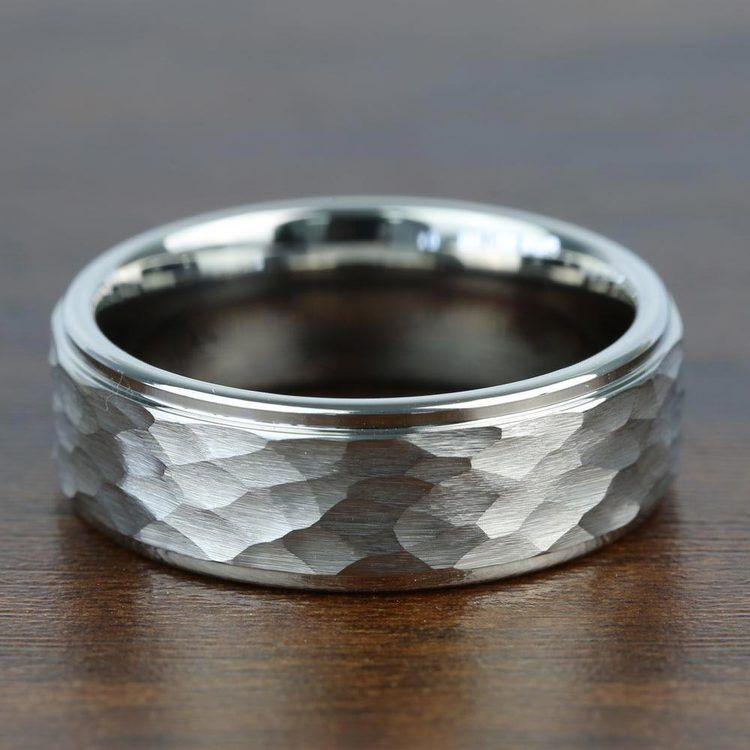 Hammered Finish White Tungsten Men's Wedding Ring (8mm) | 03