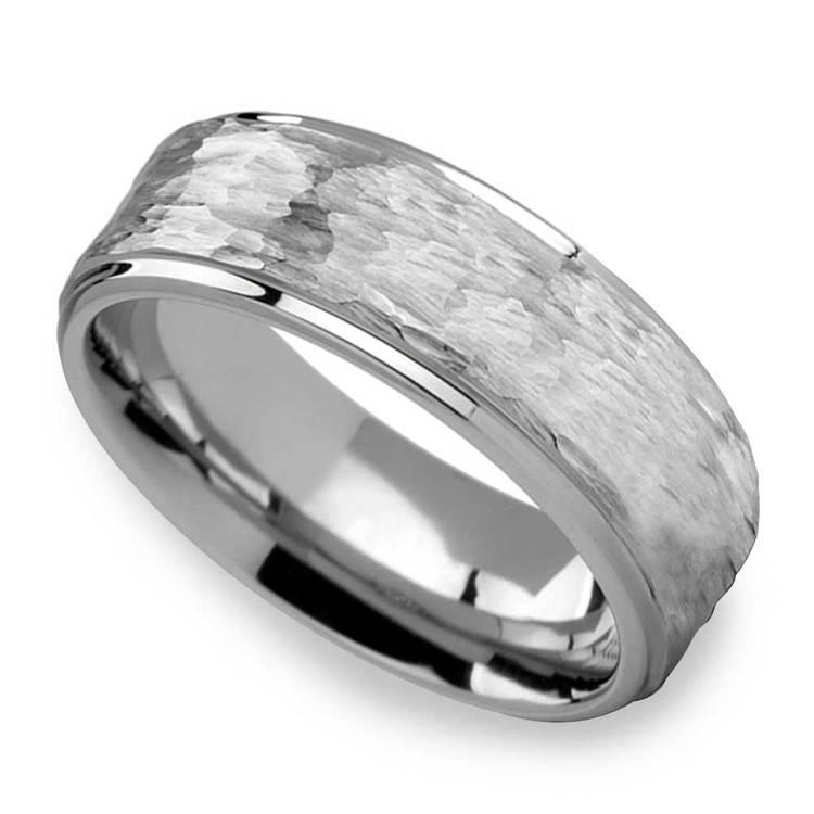 Hammered Finish White Tungsten Men's Wedding Ring (8mm) | 01