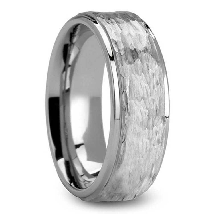 Hammered Finish White Tungsten Men's Wedding Ring (8mm) | 02