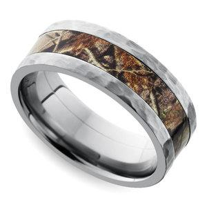 Hammered Flat Camouflage Inlay Men's Wedding Ring in Titanium
