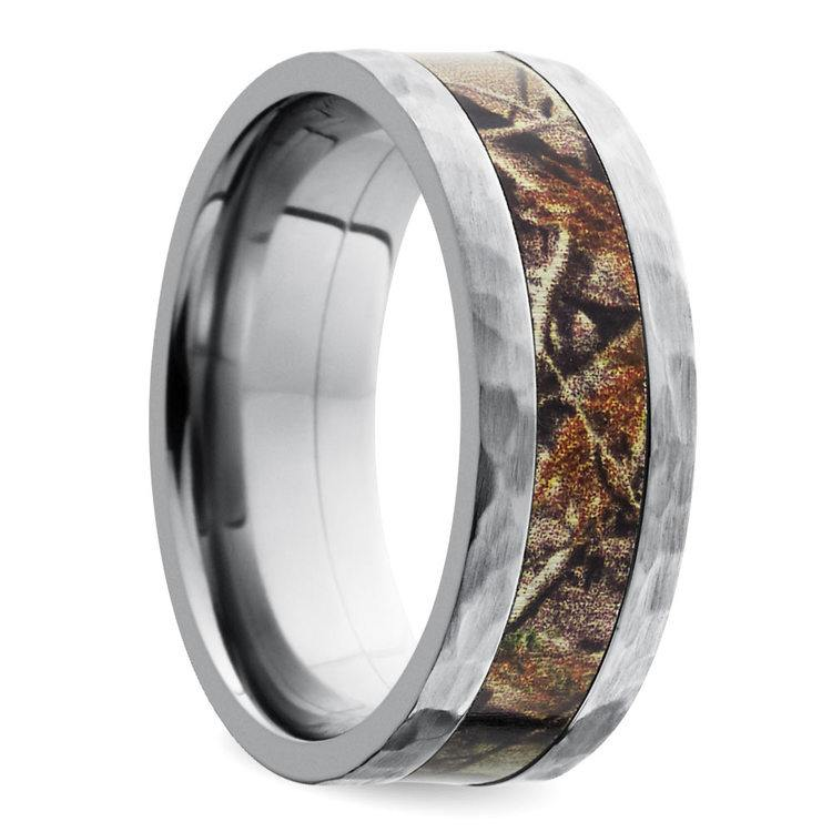 Hammered Flat Camouflage Inlay Men's Wedding Ring in Titanium | 02