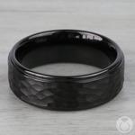 Hammered Men's Wedding Ring in Black Tungsten | Thumbnail 03