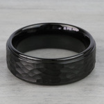 Hammered Men's Wedding Ring in Black Tungsten | Thumbnail 03