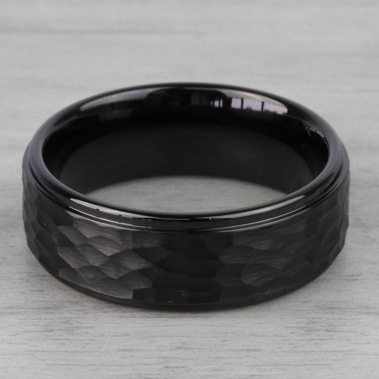 Hammered Men's Wedding Ring in Black Tungsten | 03