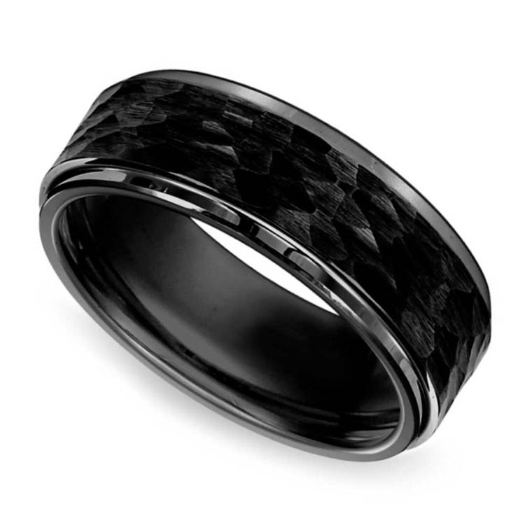 Hammered Men's Wedding Ring in Black Tungsten | 01