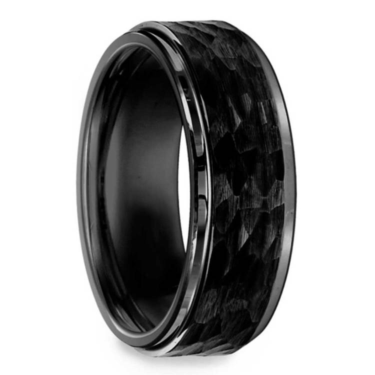 Hammered Men's Wedding Ring in Black Tungsten | 02