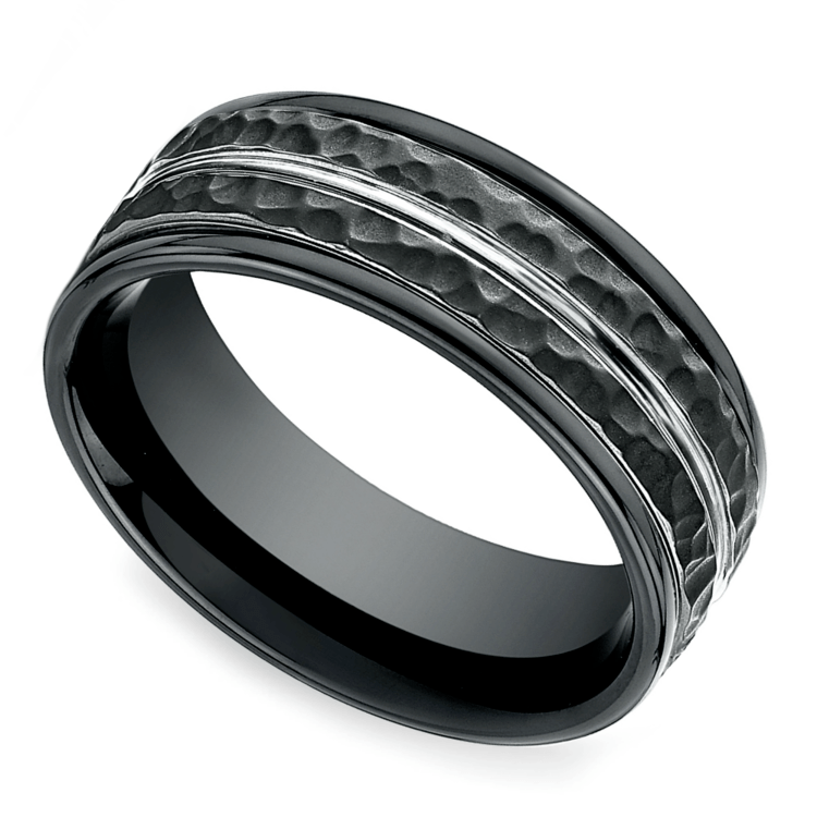 Hammered Men's Wedding Ring in Blackened Cobalt | 01