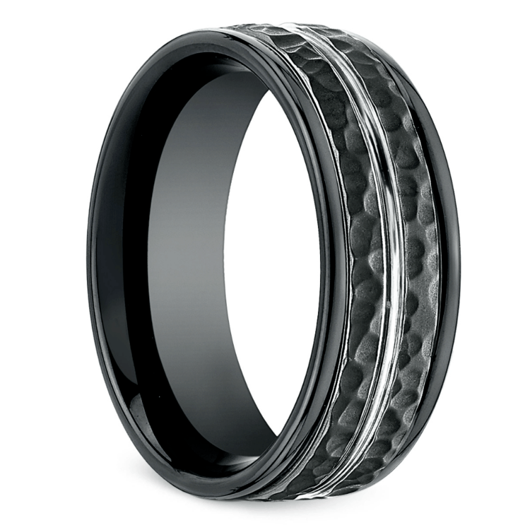 Hammered Men's Wedding Ring in Blackened Cobalt | 02