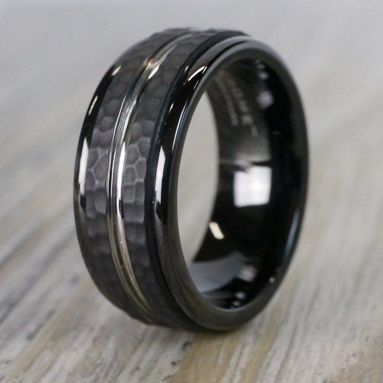 Hammered Men's Wedding Ring in Blackened Cobalt | 03