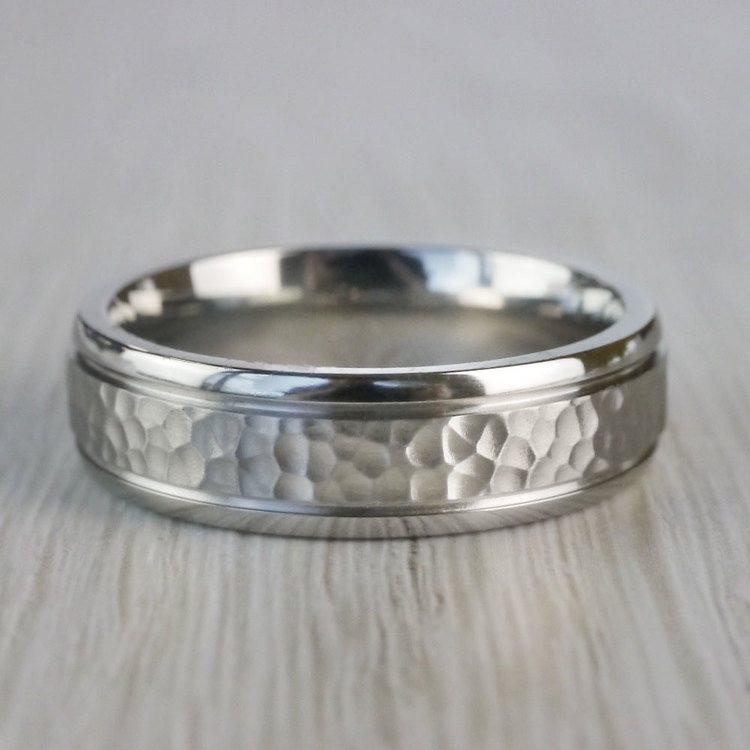 Hammered Men's Wedding Ring in Cobalt | 03