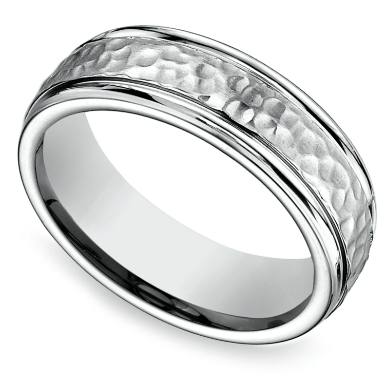 Hammered Men's Wedding Ring in Cobalt | 01