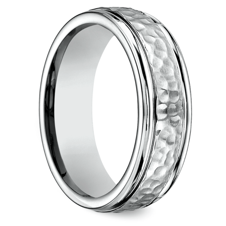 Hammered Men's Wedding Ring in Cobalt | 02
