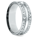 Hammered Men's Wedding Ring in Palladium (7.5mm) | Thumbnail 02