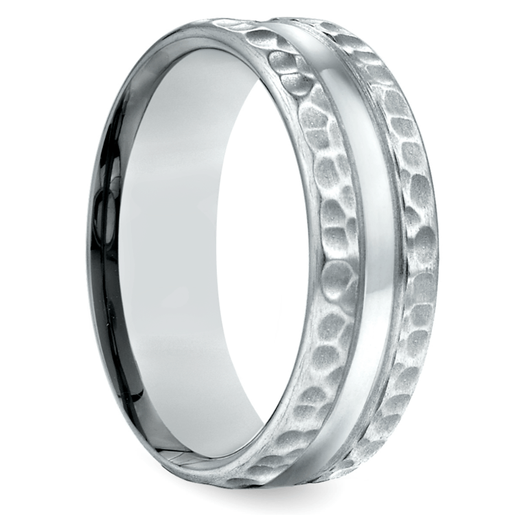 Hammered Men's Wedding Ring in Palladium (7.5mm) | 02