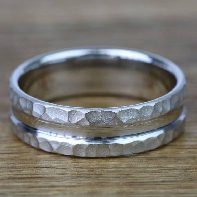 Hammered Men's Wedding Ring in Platinum (7.5mm)   03