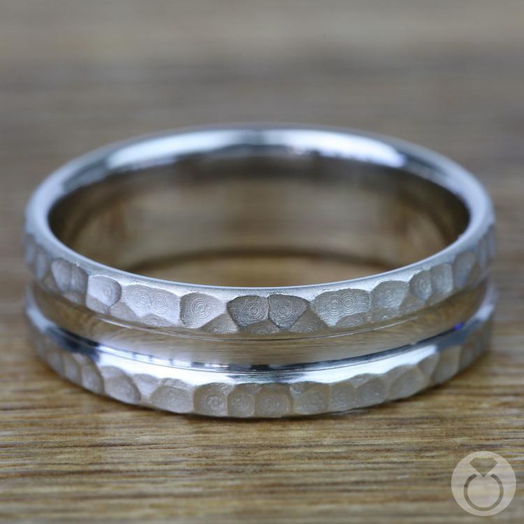 Hammered Men's Wedding Ring in Platinum (7.5mm) | 03