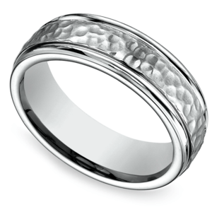 Hammered Men's Wedding Ring in Titanium
