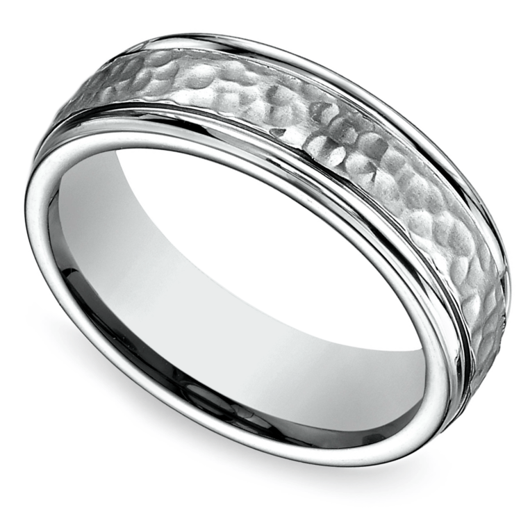 Hammered Men's Wedding Ring in Titanium  | 01