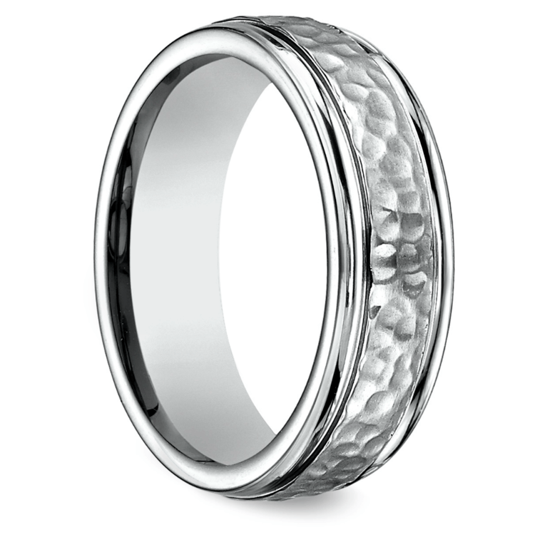 Hammered Men's Wedding Ring in Titanium  | 02