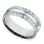 Hammered Men's Wedding Ring in White Gold (7.5mm) | Thumbnail 01