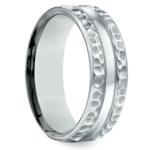 Hammered Men's Wedding Ring in White Gold (7.5mm) | Thumbnail 02