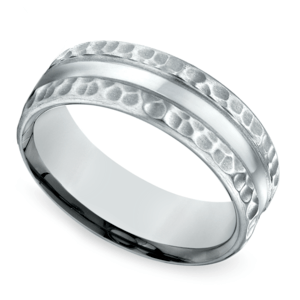 Hammered Men's Wedding Ring in White Gold (7.5mm)