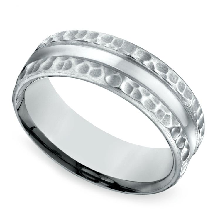 Hammered Men's Wedding Ring in White Gold (7.5mm) | 01