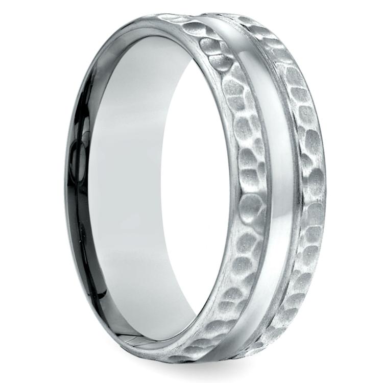 Hammered Men's Wedding Ring in White Gold (7.5mm) | 02