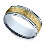 Hammered Men's Wedding Ring in White & Yellow Gold | Thumbnail 01