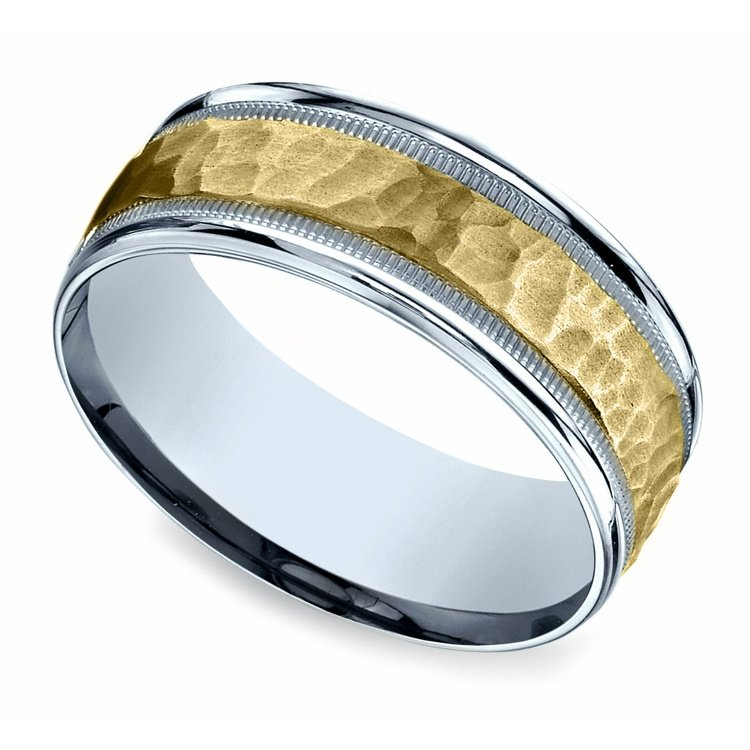 Hammered Men's Wedding Ring in White & Yellow Gold | 01
