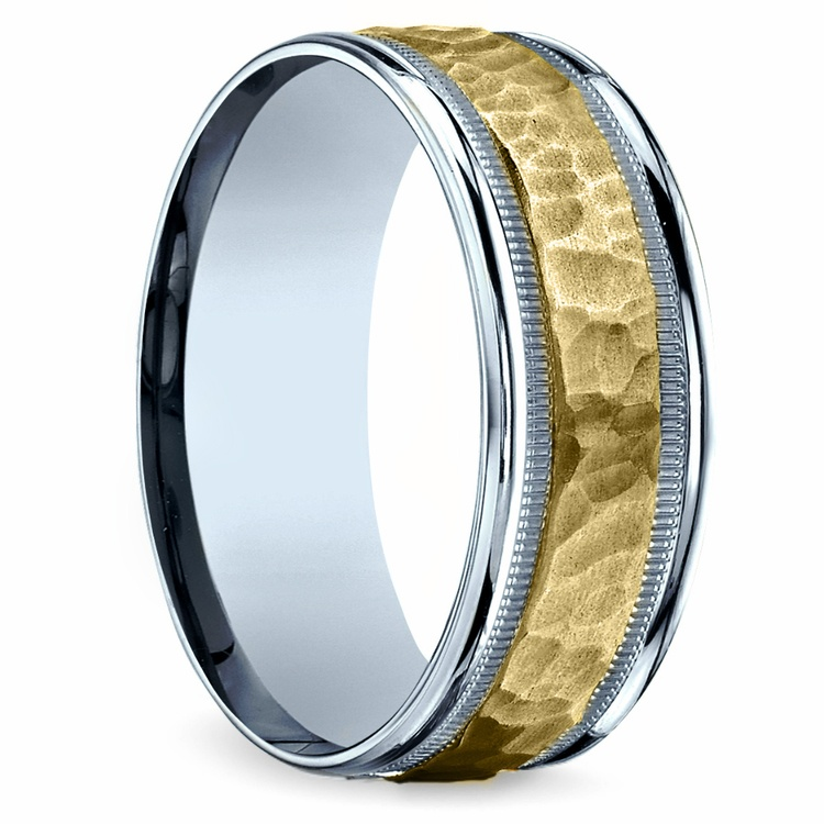 Hammered Men's Wedding Ring in White & Yellow Gold | 02