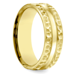 Hammered Men's Wedding Ring in Yellow Gold (7.5mm) | Thumbnail 02