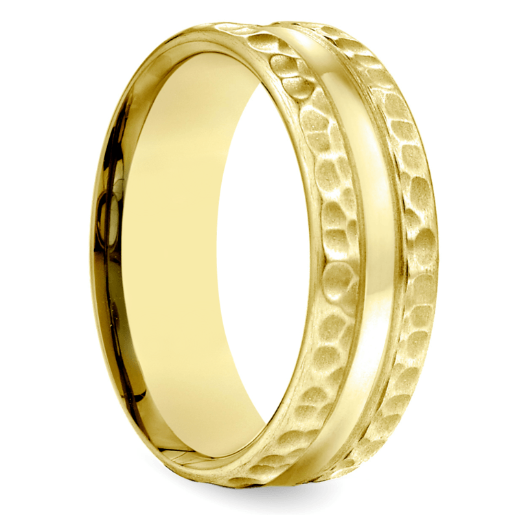 Hammered Men's Wedding Ring in Yellow Gold (7.5mm) | 02