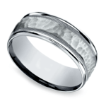 Hammered Milgrain Men's Wedding Ring in Platinum | Thumbnail 01
