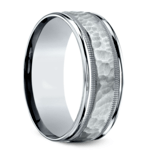 Hammered Milgrain Men's Wedding Ring in Platinum | Thumbnail 02