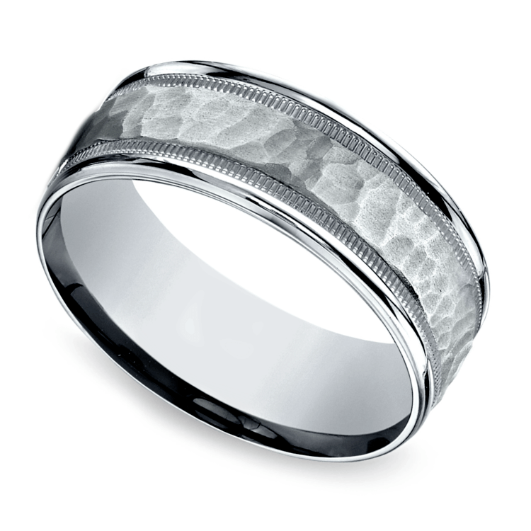 Hammered Milgrain Men's Wedding Ring in Platinum | 01
