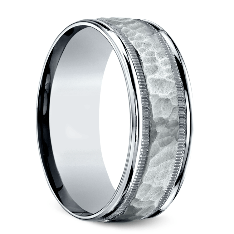 Hammered Milgrain Men's Wedding Ring in Platinum | 02