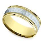 Hammered Milgrain Men's Band in White & Yellow Gold | Thumbnail 01