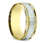 Hammered Milgrain Men's Band in White & Yellow Gold | Thumbnail 02