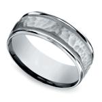 Hammered Milgrain Men's Wedding Ring in White Gold | Thumbnail 01