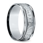 Hammered Milgrain Men's Wedding Ring in White Gold | Thumbnail 02