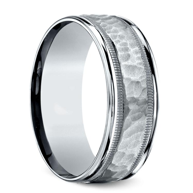 Hammered Milgrain Men's Wedding Ring in White Gold | 02