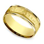 Hammered Milgrain Men's Wedding Ring in Yellow Gold | Thumbnail 01