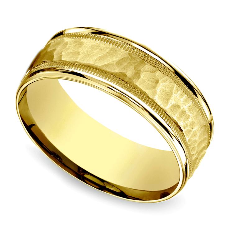 Hammered Milgrain Men's Wedding Ring in Yellow Gold | 01