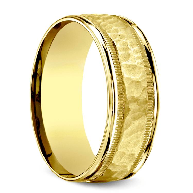 Hammered Milgrain Men's Wedding Ring in Yellow Gold | 02