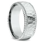 Hammered Rope Edging Men's Wedding Ring in Palladium | Thumbnail 02